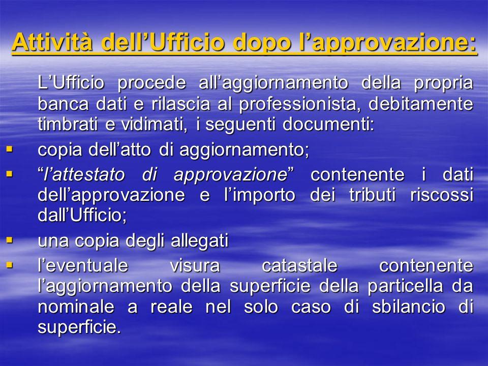 Attività dell'Ufficio dopo l'approvazione: