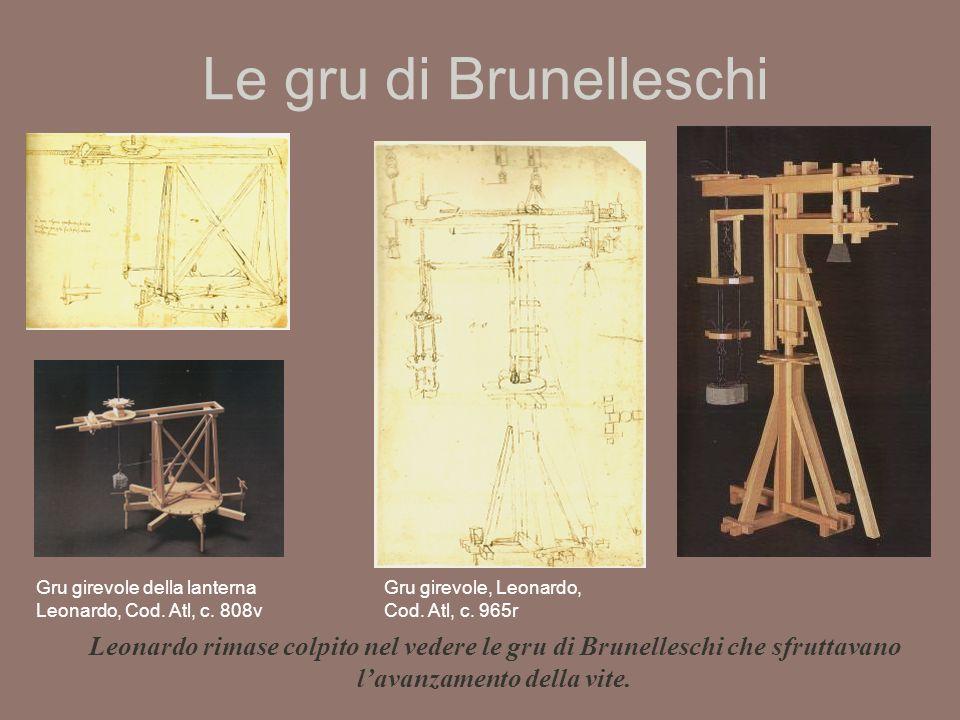 Le gru di Brunelleschi Gru girevole della lanterna Leonardo, Cod. Atl, c. 808v. Gru girevole, Leonardo, Cod. Atl, c. 965r.