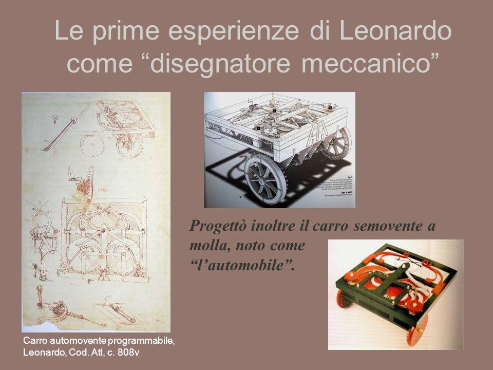 Le prime esperienze di Leonardo come disegnatore meccanico
