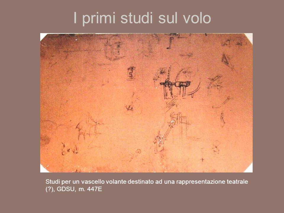 I primi studi sul volo Studi per un vascello volante destinato ad una rappresentazione teatrale ( ), GDSU, m.
