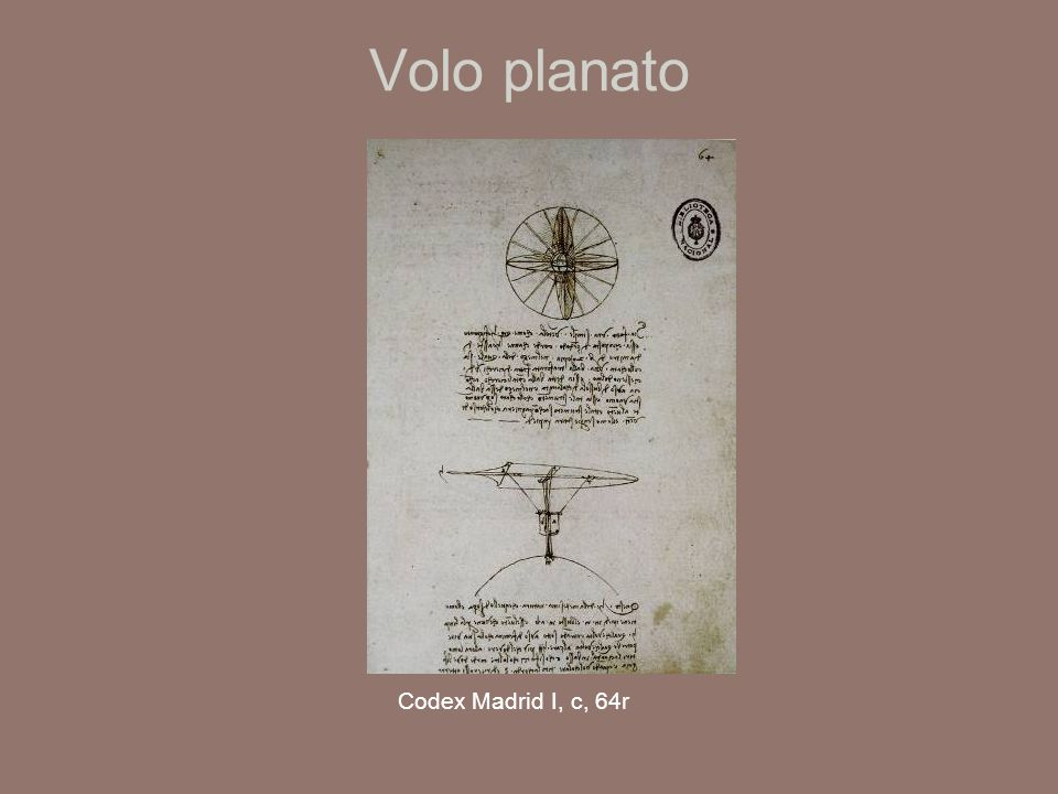 Volo planato Codex Madrid I, c, 64r