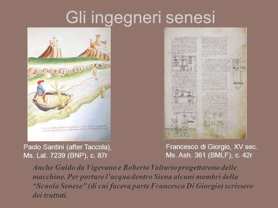 Gli ingegneri senesi Paolo Santini (after Taccola), Ms. Lat. 7239 (BNP), c. 87r. Francesco di Giorgio, XV sec. Ms. Ash. 361 (BMLF), c. 42r.