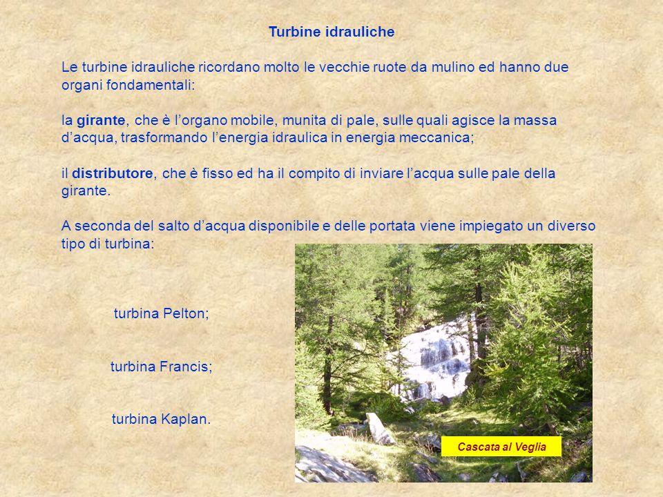 Turbine idrauliche Le turbine idrauliche ricordano molto le vecchie ruote da mulino ed hanno due organi fondamentali: