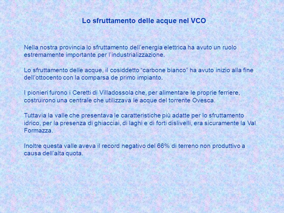 Lo sfruttamento delle acque nel VCO