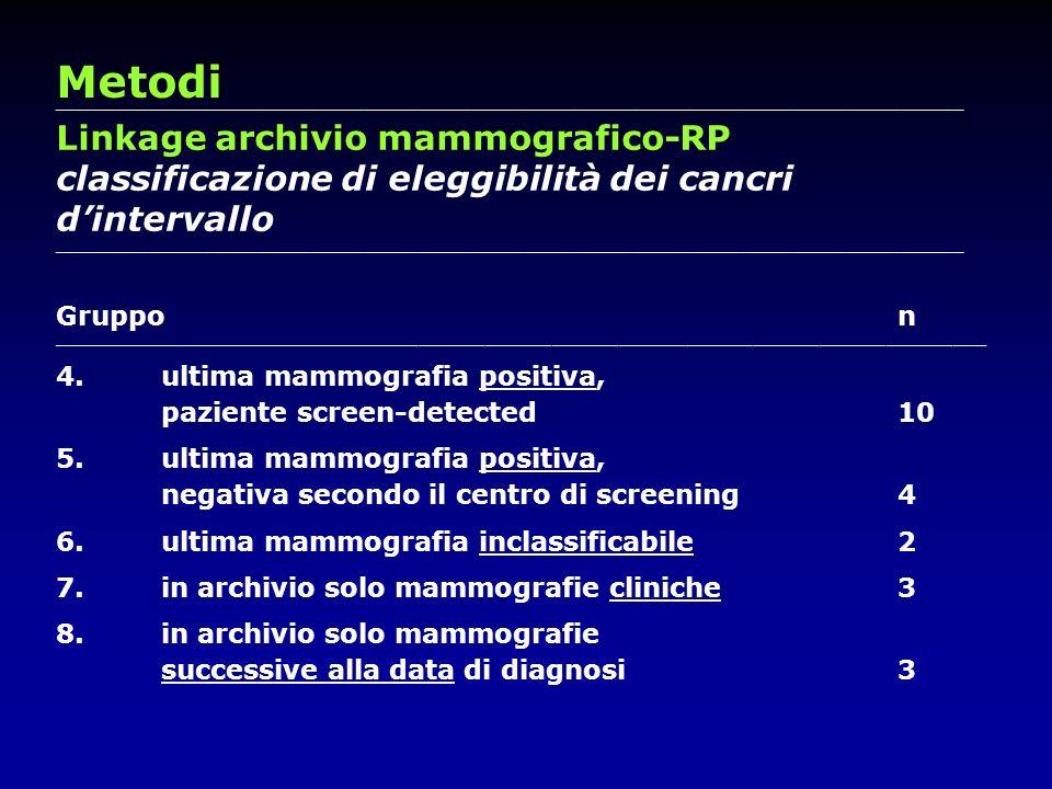 Metodi Linkage archivio mammografico-RP