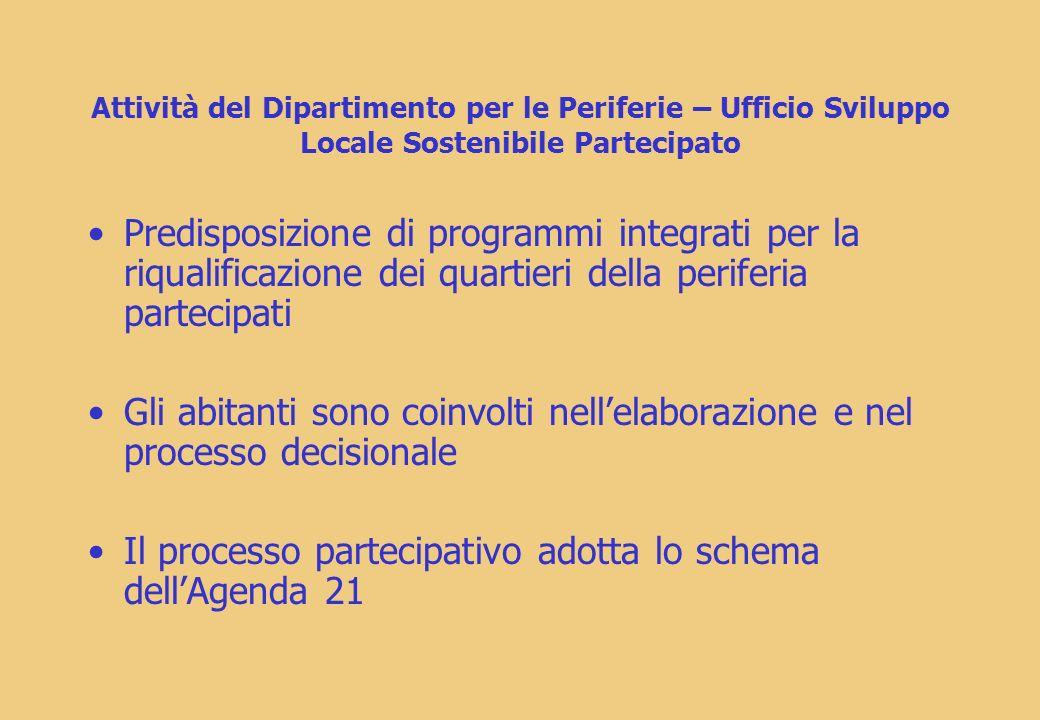 Il processo partecipativo adotta lo schema dell'Agenda 21
