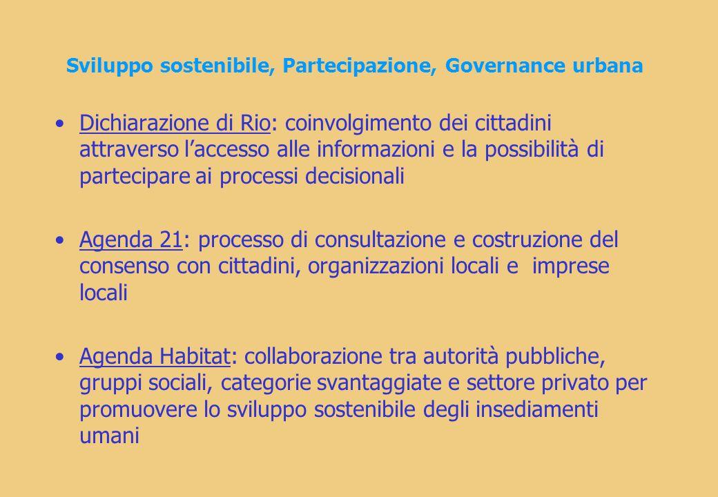 Sviluppo sostenibile, Partecipazione, Governance urbana