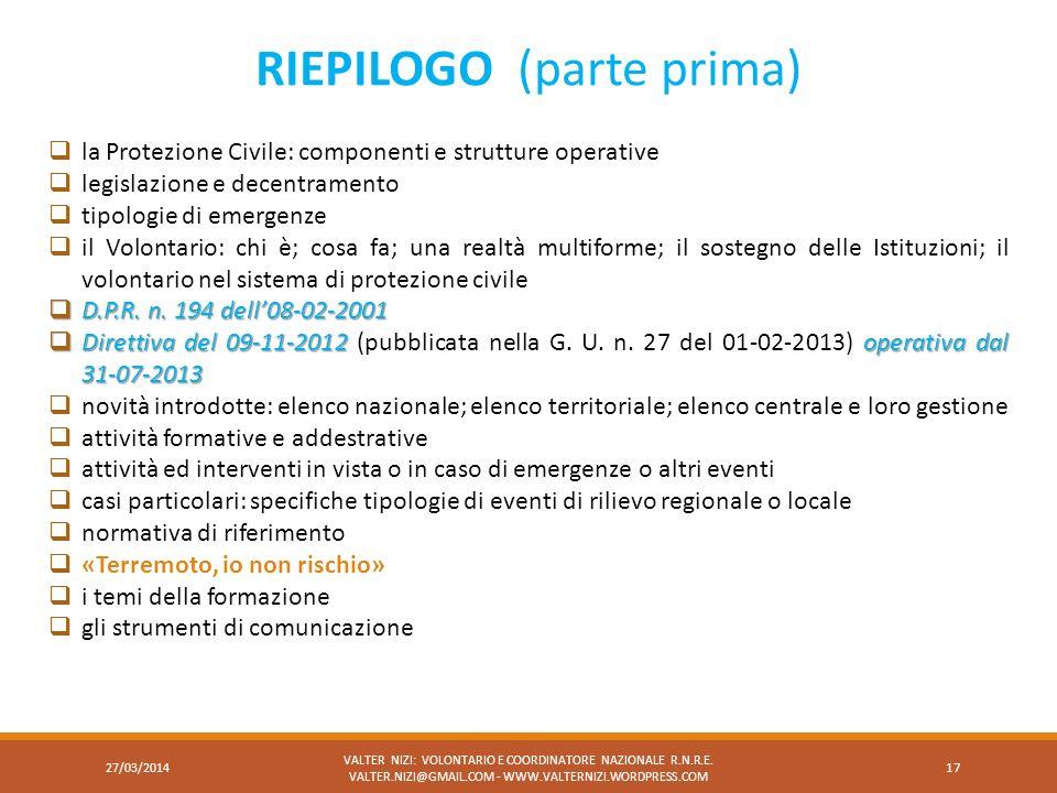 RIEPILOGO (parte prima)