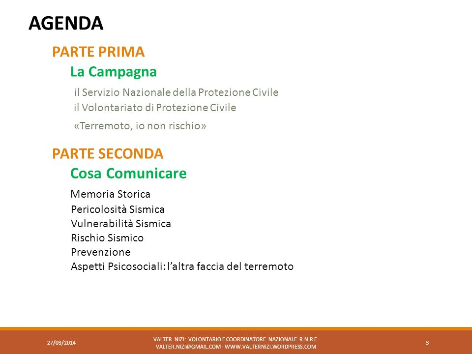 AGENDA PARTE PRIMA La Campagna