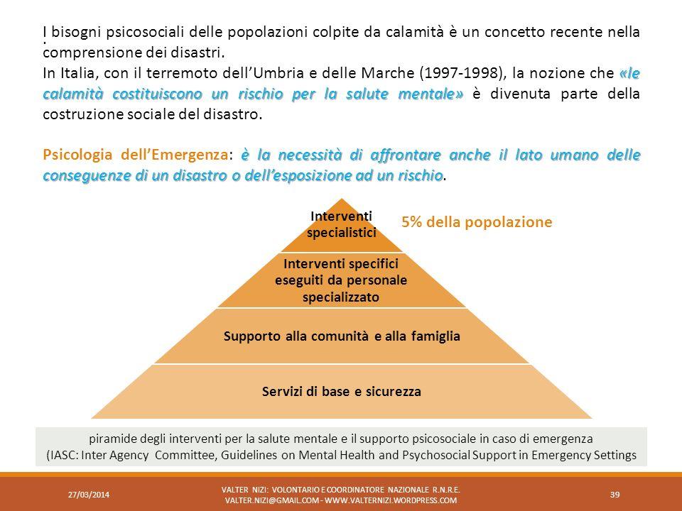 I bisogni psicosociali delle popolazioni colpite da calamità è un concetto recente nella comprensione dei disastri.