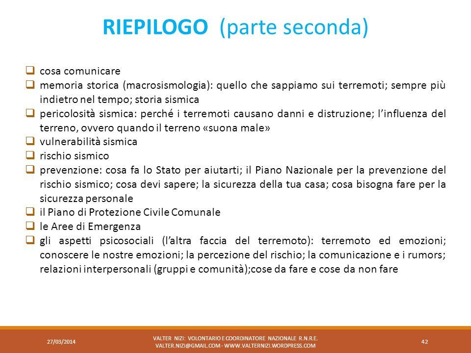 RIEPILOGO (parte seconda)