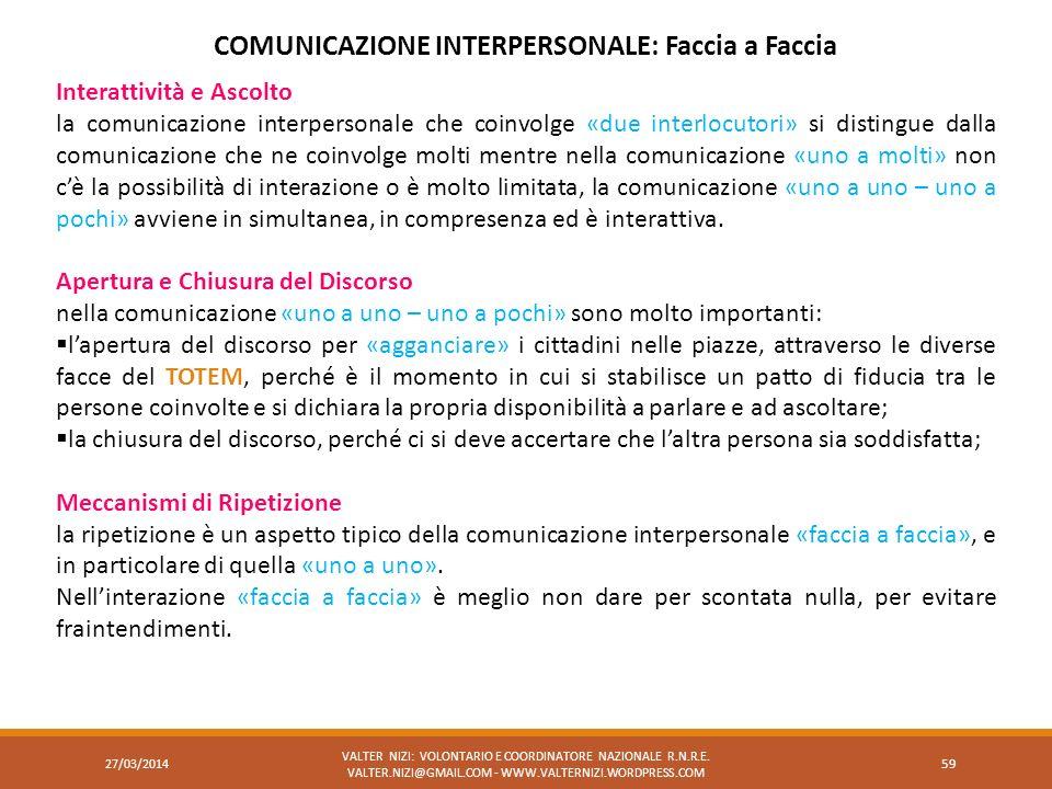 COMUNICAZIONE INTERPERSONALE: Faccia a Faccia