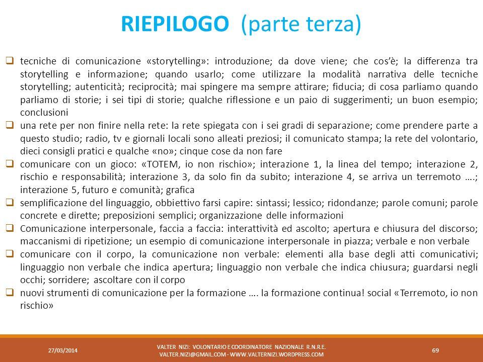RIEPILOGO (parte terza)
