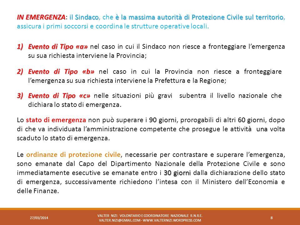 IN EMERGENZA: il Sindaco, che è la massima autorità di Protezione Civile sul territorio, assicura i primi soccorsi e coordina le strutture operative locali.