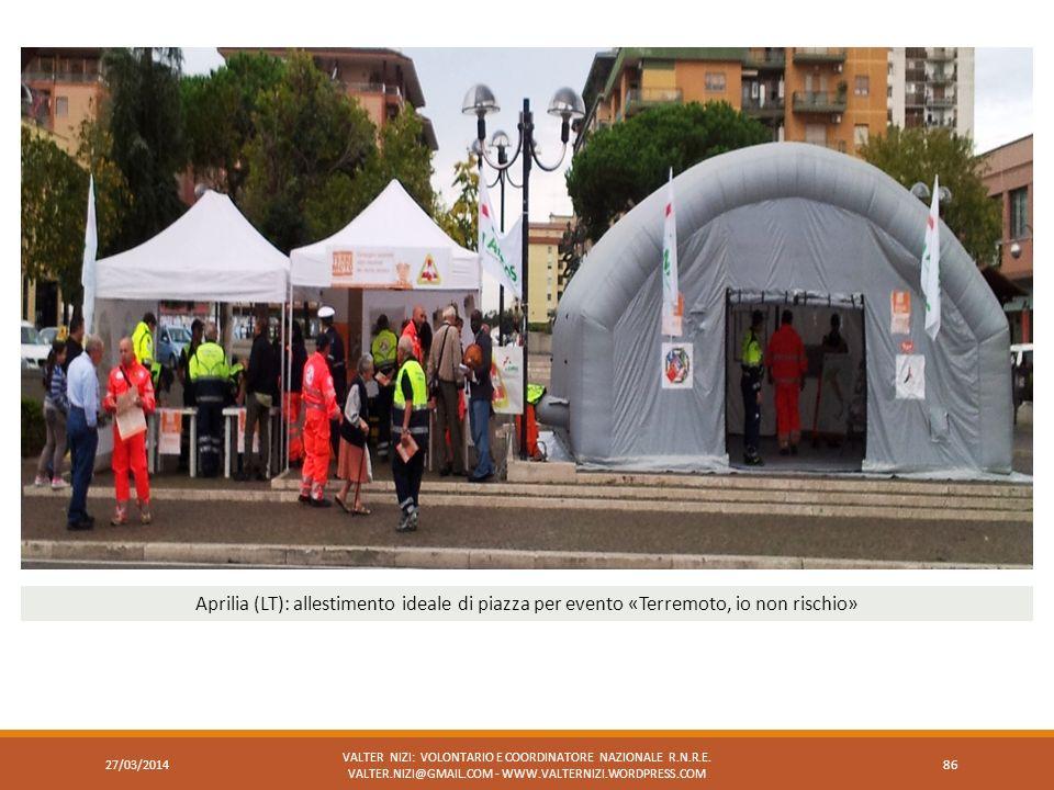 Aprilia (LT): allestimento ideale di piazza per evento «Terremoto, io non rischio»