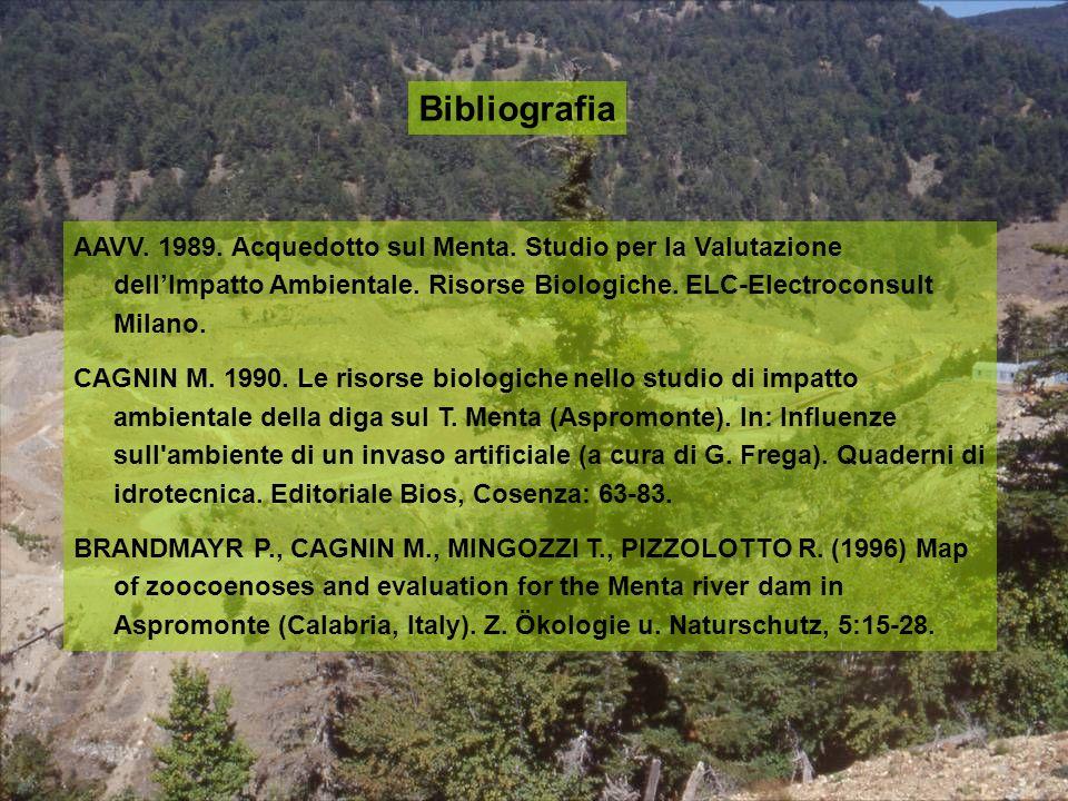 Bibliografia AAVV. 1989. Acquedotto sul Menta. Studio per la Valutazione dell'Impatto Ambientale. Risorse Biologiche. ELC-Electroconsult Milano.
