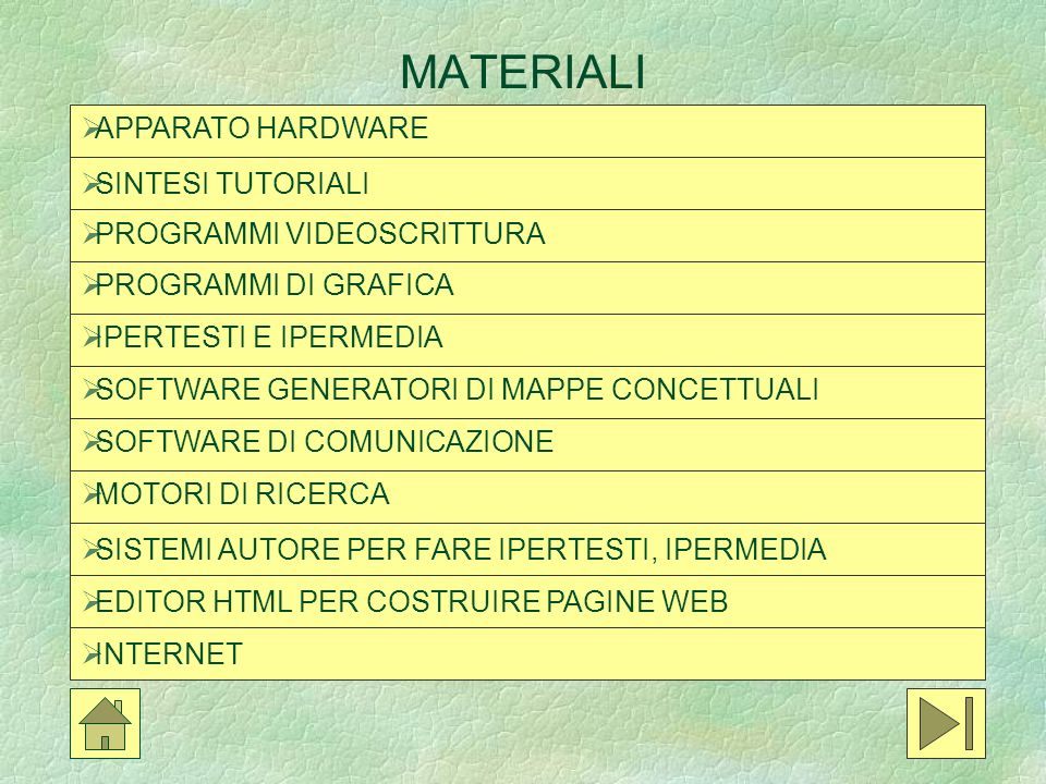 MATERIALI APPARATO HARDWARE SINTESI TUTORIALI PROGRAMMI VIDEOSCRITTURA