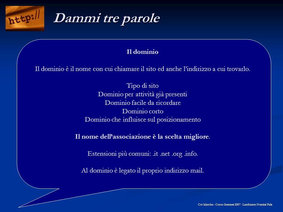 Csv Marche - Corso Internet 2007 - Lanfranco Norcini Pala