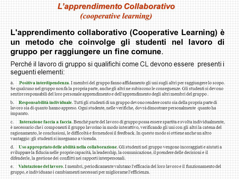 L'apprendimento Collaborativo (cooperative learning)