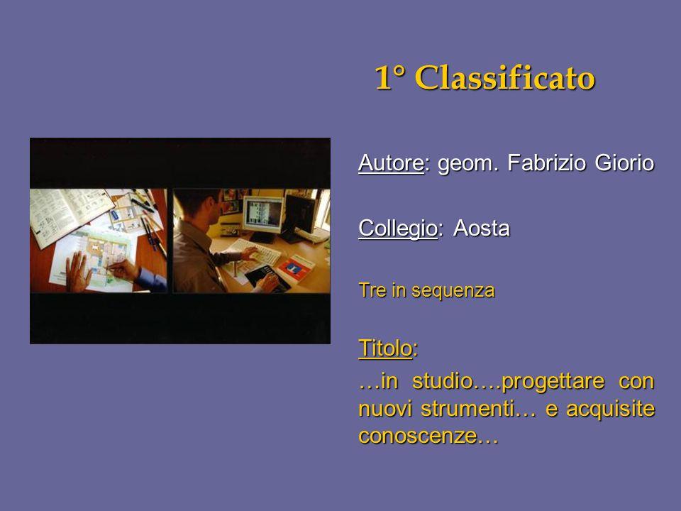 1° Classificato Autore: geom. Fabrizio Giorio Collegio: Aosta Titolo: