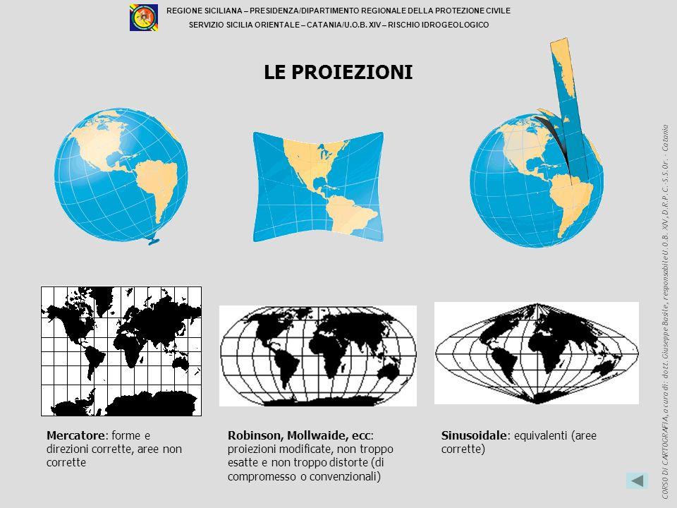 LE PROIEZIONI Mercatore: forme e direzioni corrette, aree non corrette
