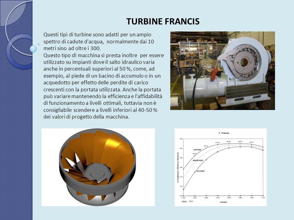 TURBINE FRANCIS Questi tipi di turbine sono adatti per un ampio spettro di cadute d acqua, normalmente dai 10 metri sino ad oltre i 300.