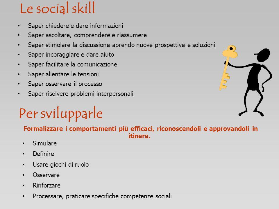 Le social skill Per svilupparle Saper chiedere e dare informazioni