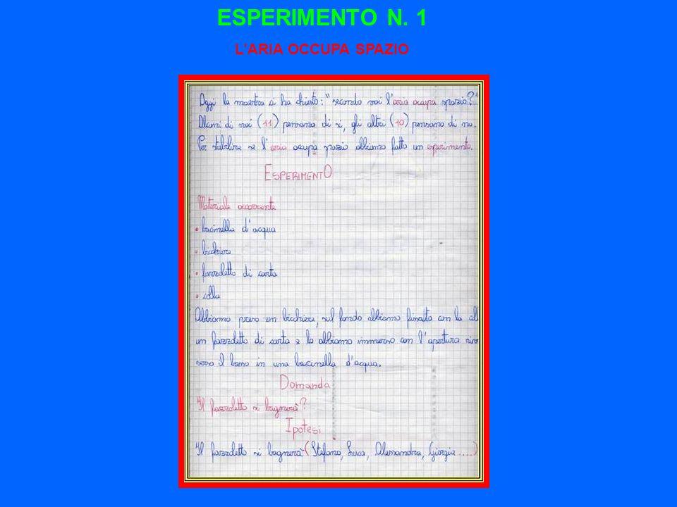 ESPERIMENTO N. 1 L'ARIA OCCUPA SPAZIO