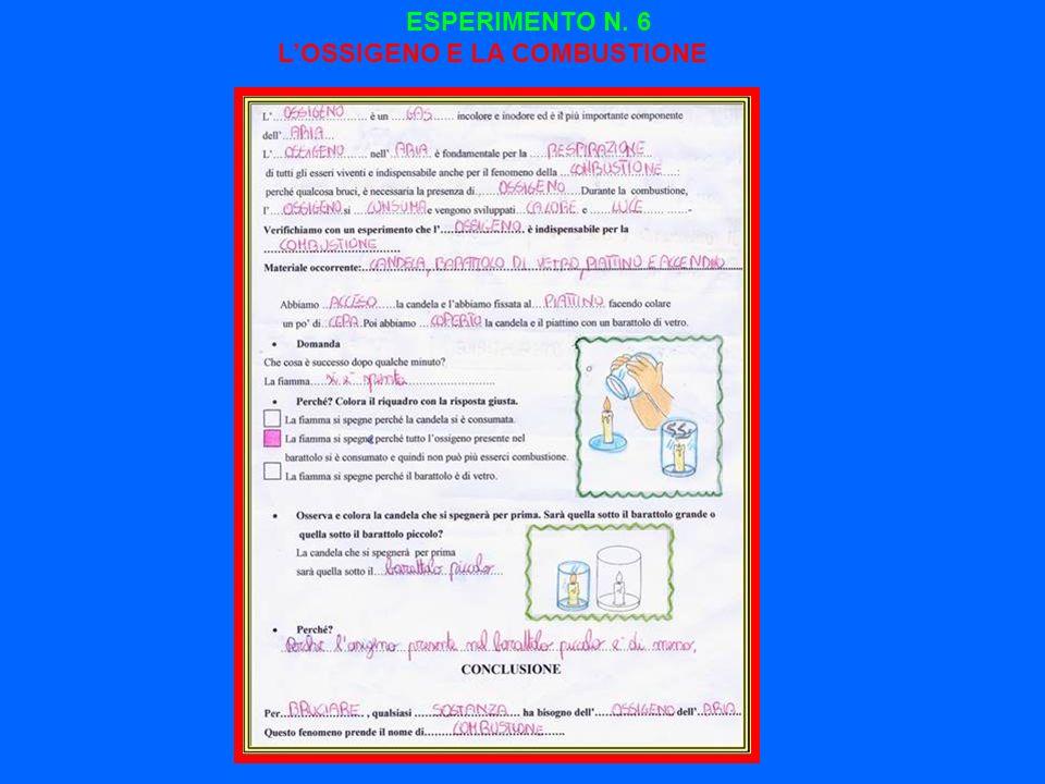 ESPERIMENTO N. 6 L'OSSIGENO E LA COMBUSTIONE