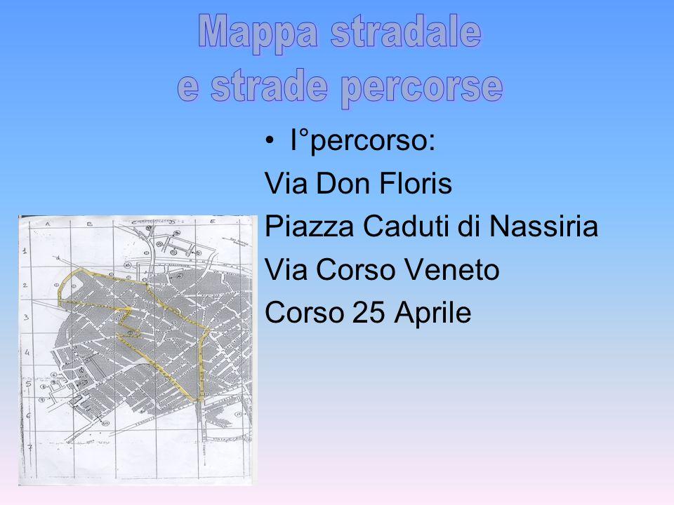 Mappa stradale e strade percorse I°percorso: Via Don Floris