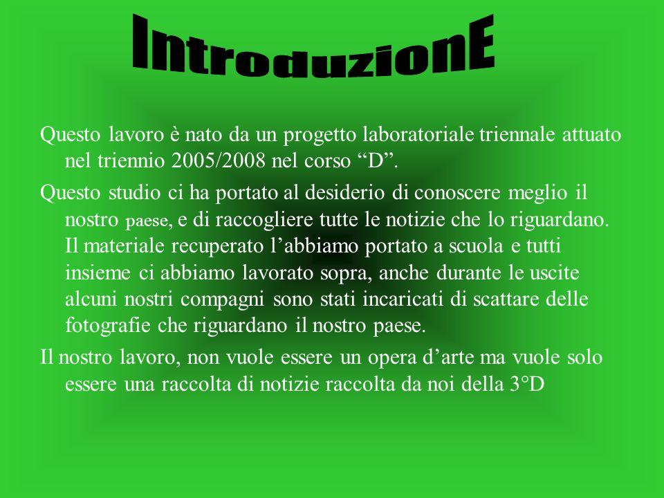 IntroduzionE Questo lavoro è nato da un progetto laboratoriale triennale attuato nel triennio 2005/2008 nel corso D .