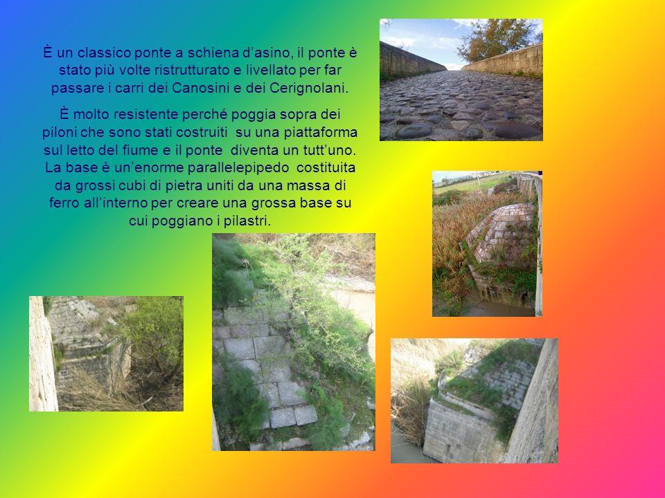 È un classico ponte a schiena d'asino, il ponte è stato più volte ristrutturato e livellato per far passare i carri dei Canosini e dei Cerignolani.