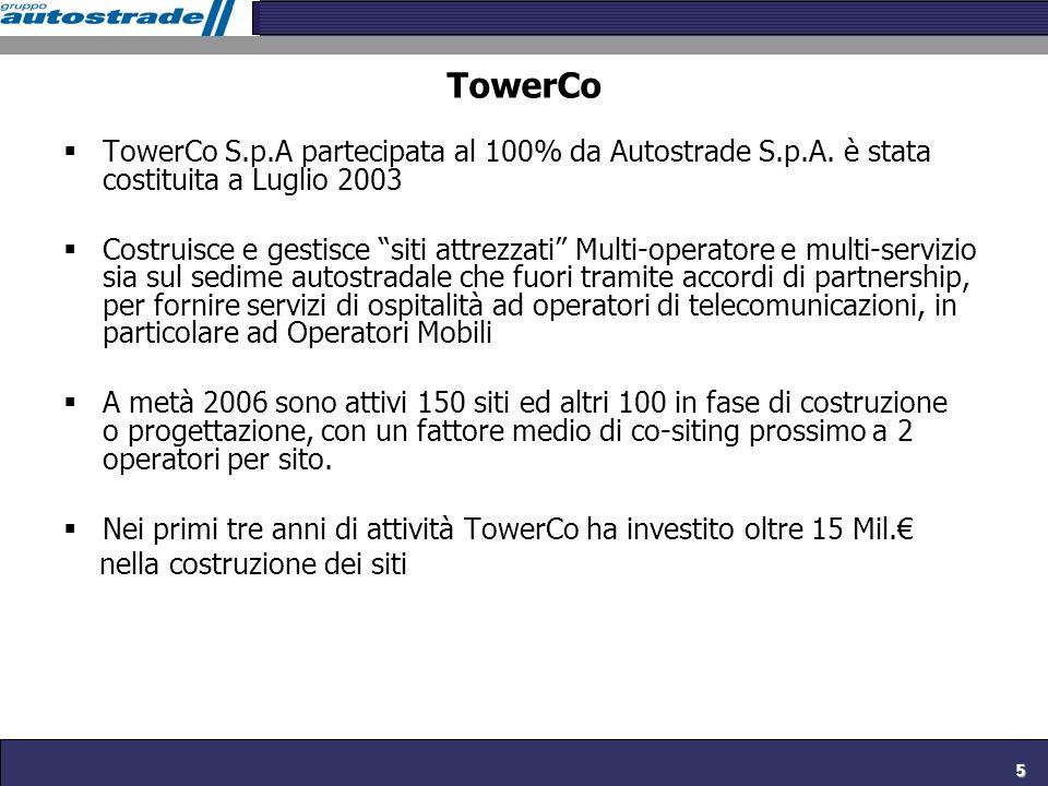 TowerCoTowerCo S.p.A partecipata al 100% da Autostrade S.p.A. è stata costituita a Luglio 2003.