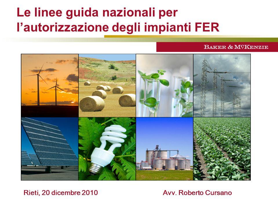 Le linee guida nazionali per l'autorizzazione degli impianti FER