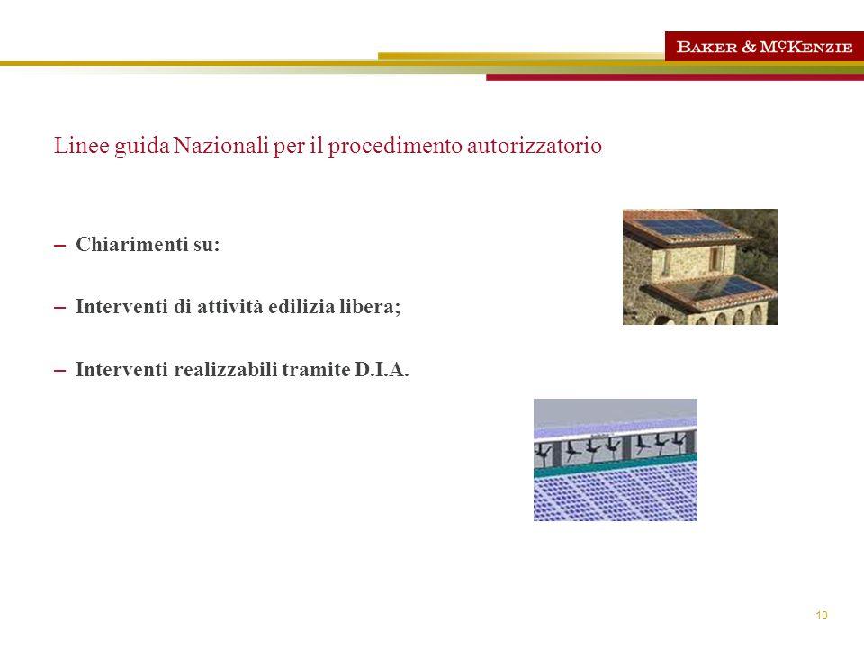 Linee guida Nazionali per il procedimento autorizzatorio