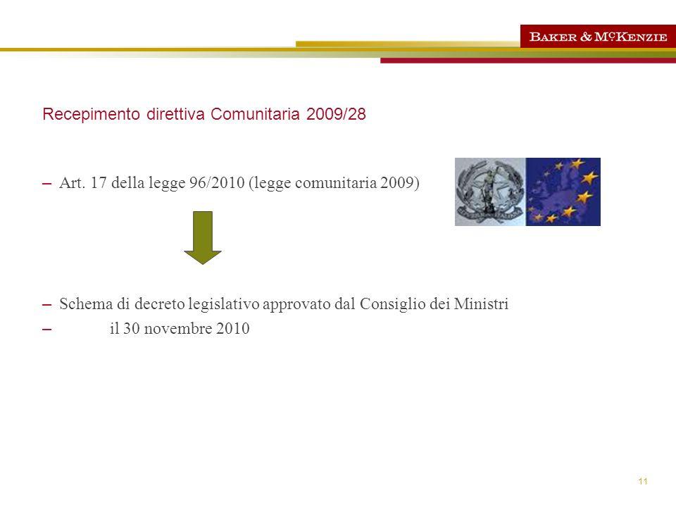 Recepimento direttiva Comunitaria 2009/28