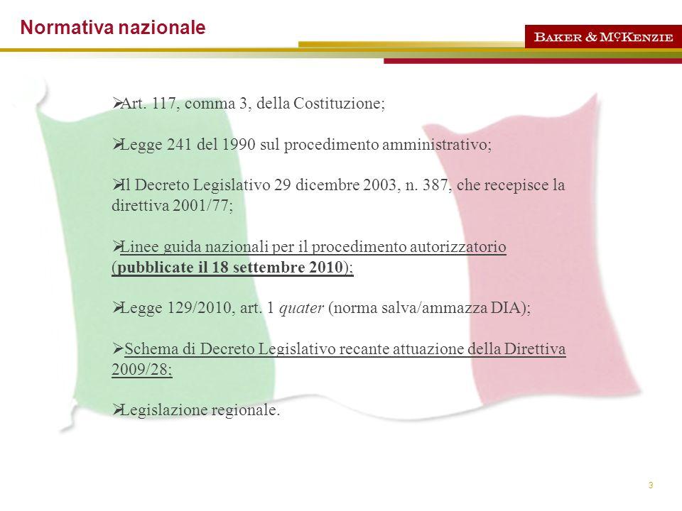 Normativa nazionale Art. 117, comma 3, della Costituzione;