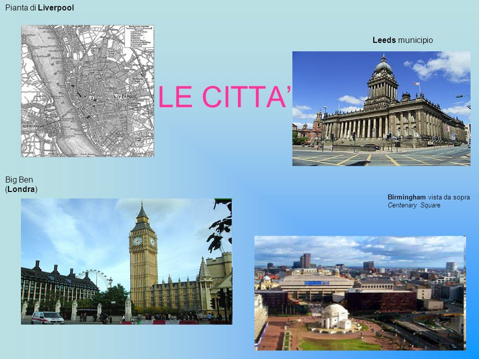 LE CITTA' Pianta di Liverpool Leeds municipio Big Ben (Londra)
