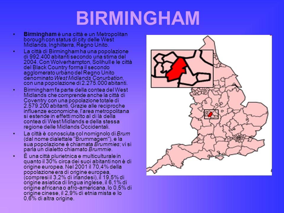 BIRMINGHAM Birmingham è una città e un Metropolitan borough con status di city delle West Midlands, Inghilterra, Regno Unito.