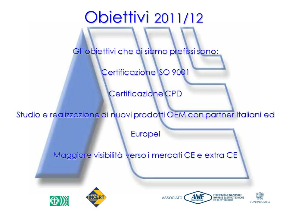Obiettivi 2011/12 Gli obiettivi che ci siamo prefissi sono: