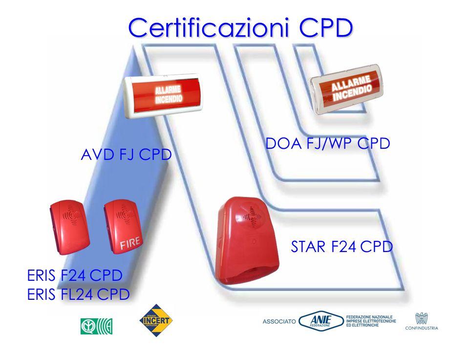 Certificazioni CPD DOA FJ/WP CPD AVD FJ CPD STAR F24 CPD ERIS F24 CPD