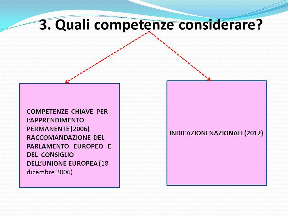 3. Quali competenze considerare INDICAZIONI NAZIONALI (2012)
