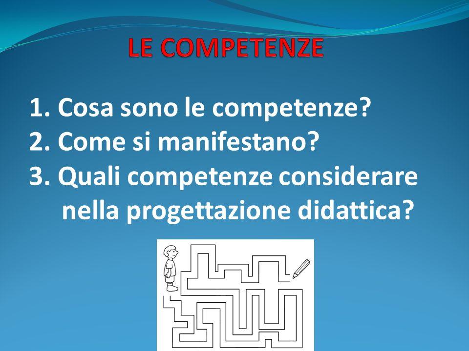 LE COMPETENZE 1. Cosa sono le competenze 2. Come si manifestano 3. Quali competenze considerare.