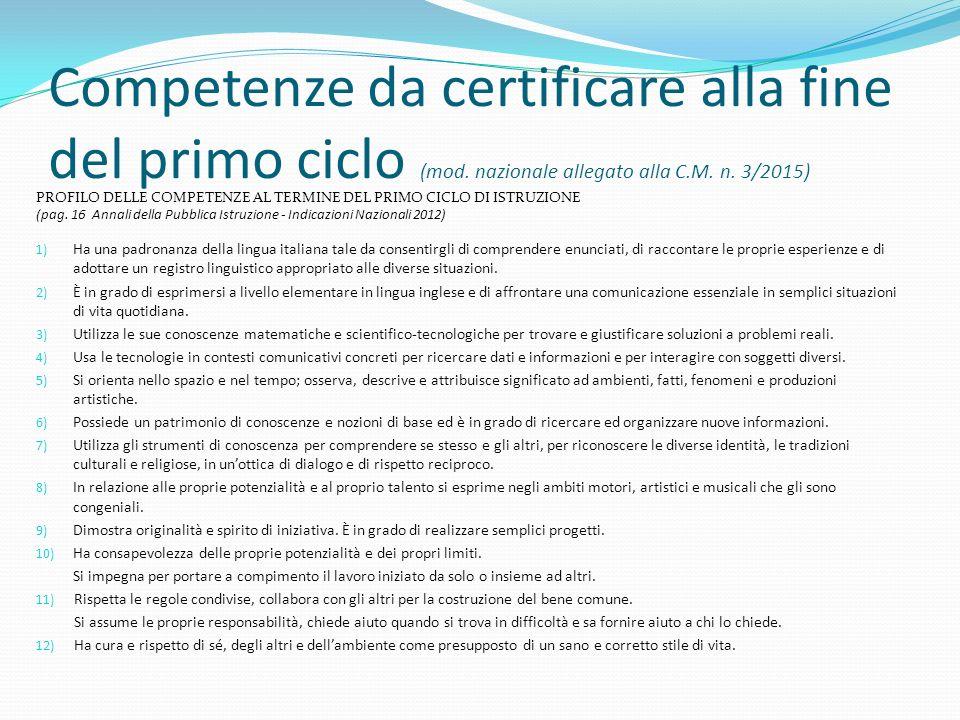 Competenze da certificare alla fine del primo ciclo (mod