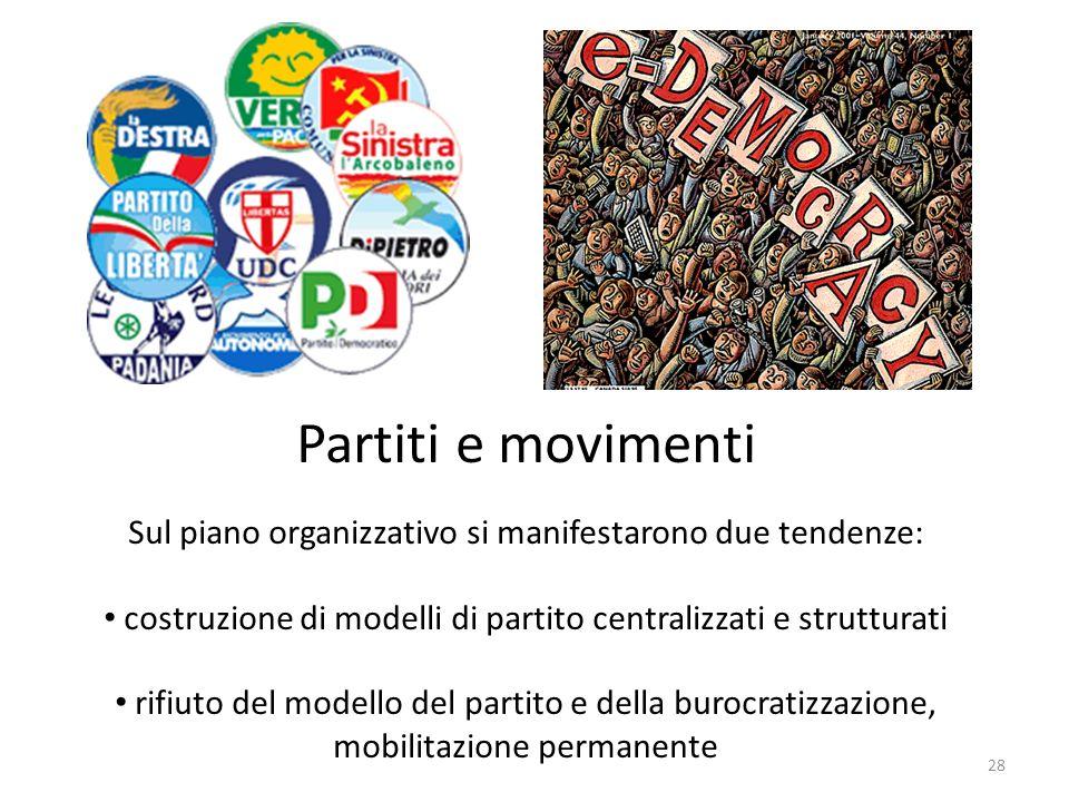 Partiti e movimentiSul piano organizzativo si manifestarono due tendenze: costruzione di modelli di partito centralizzati e strutturati.