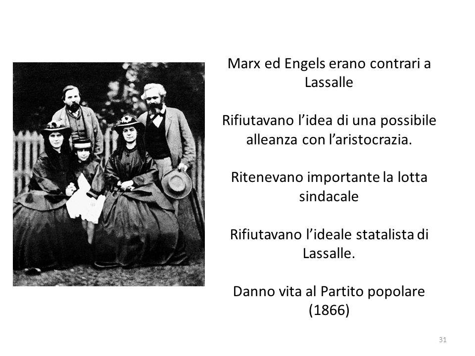 Marx ed Engels erano contrari a Lassalle