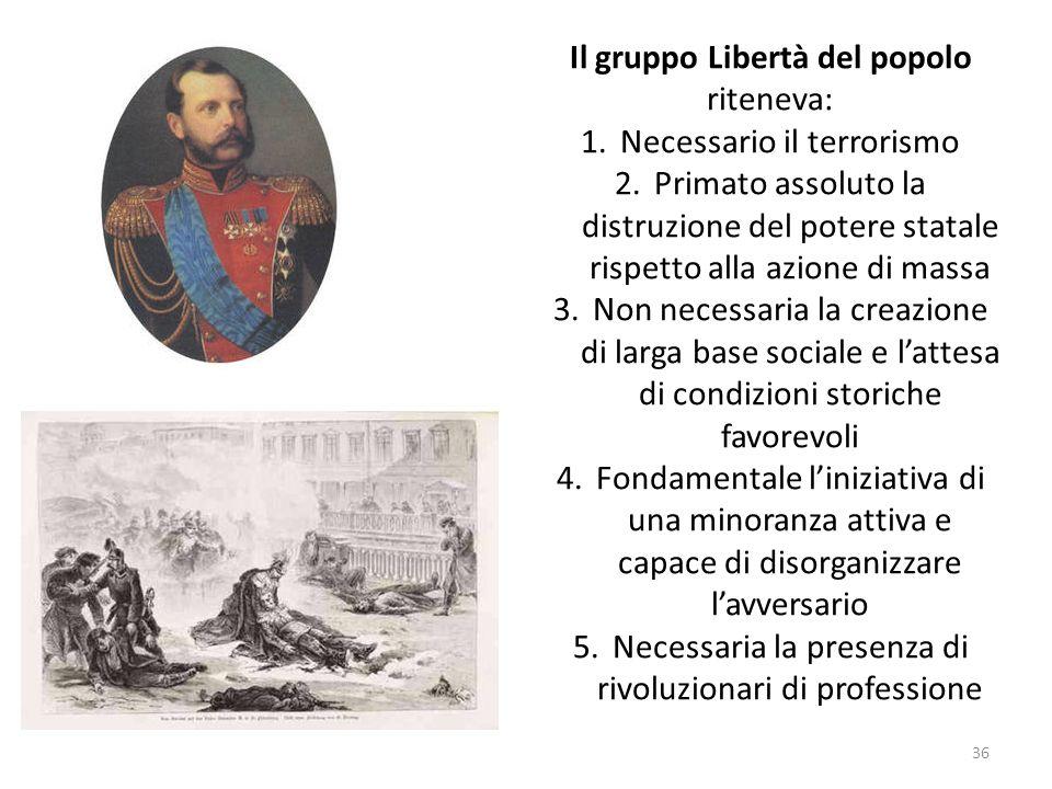 Il gruppo Libertà del popolo riteneva: Necessario il terrorismo