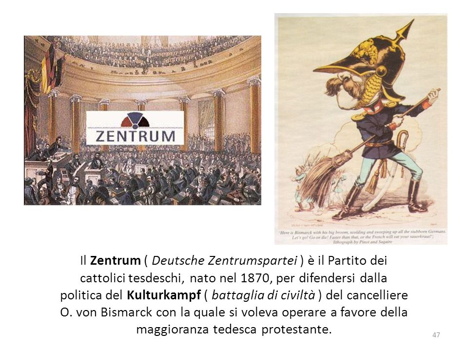 Il Zentrum ( Deutsche Zentrumspartei ) è il Partito dei cattolici tesdeschi, nato nel 1870, per difendersi dalla politica del Kulturkampf ( battaglia di civiltà ) del cancelliere O.