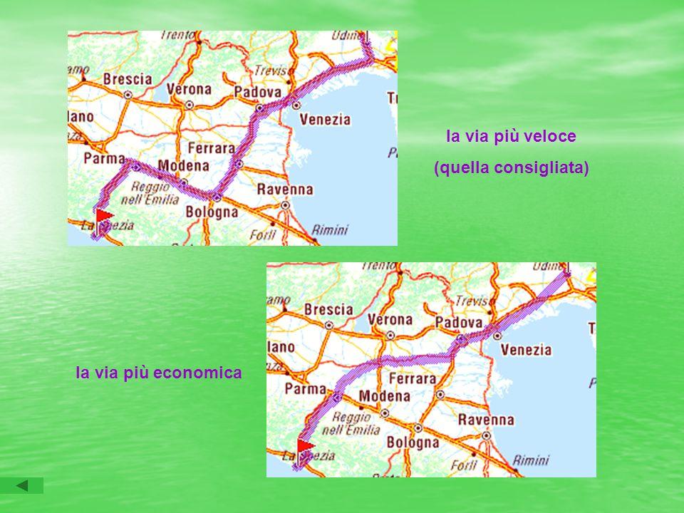 la via più veloce (quella consigliata) la via più economica