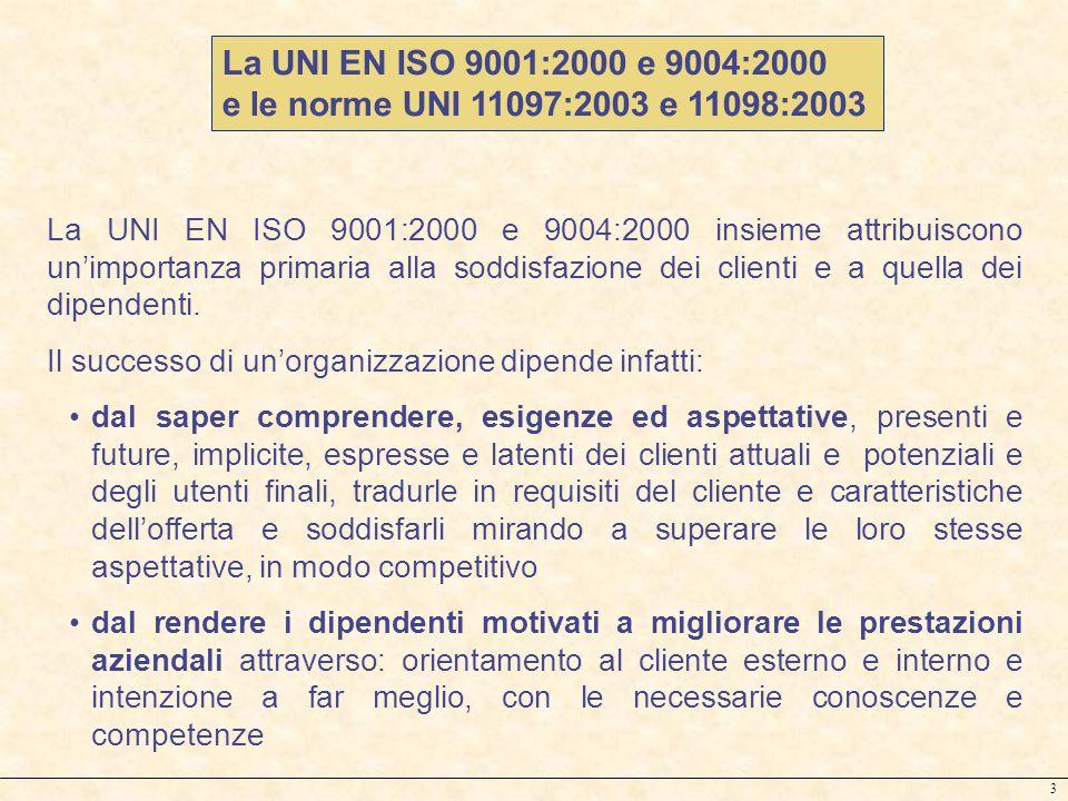 La UNI EN ISO 9001:2000 e 9004:2000 e le norme UNI 11097:2003 e 11098:2003.